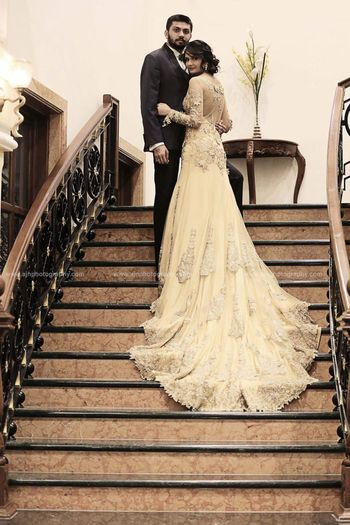 Off White Reception Gown with a Train