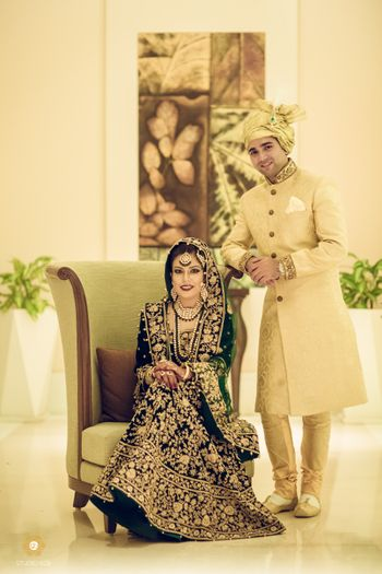 Couple Portrait with Bride in Green