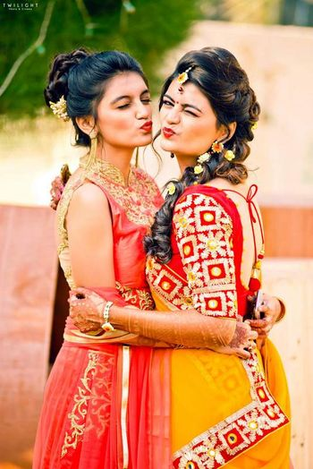 Bride Pouting with Sister