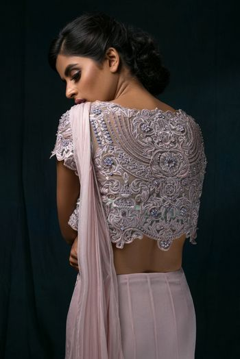 Photo of Light Pink and Grey Lace Lehenga with Embroidery