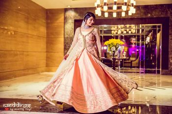 Peach and Gold Twirling Lehenga