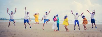 Beach pre wedding shoot with friends