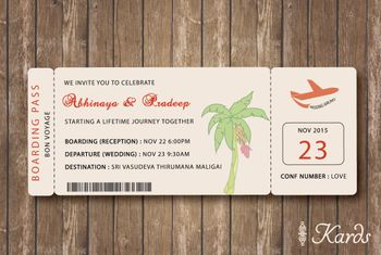 Photo of Destination theme boarding pass wedding card