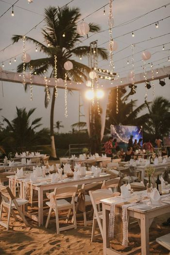 Photo of Beachside cocktail party table setting