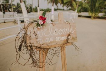 Photo of Welcome to our beginning sign entrance decor