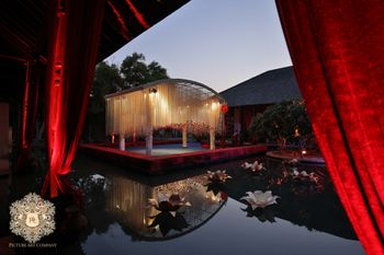 Floating mandap with floral strings