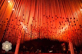 Mandap decor with hanging floral strings