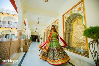 Photo of Light green threadwork lehenga for mehendi