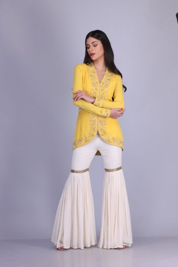 Yellow and white color sharara