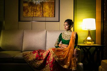 Photo of Bridal portrait in roomin multicolour lehenga