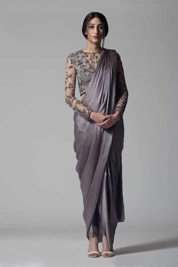Dark Grey color drape saree