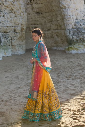 Multicolour lehenga for mehendi with yellow skirt