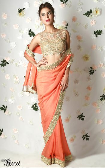 Peach saree with gold bead work blouse and border