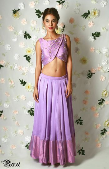 Lavender monotone lehenga with attached dupatta