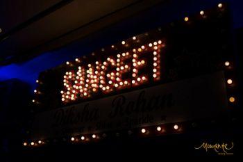 Sangeet entrance decor with bulbs