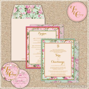 floral print wedding cards