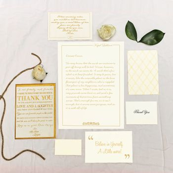Photo of White and Gold Wedding Invitation