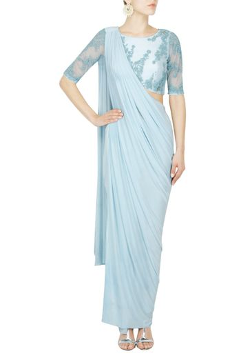 Powder blue saree gown with beaded blouse