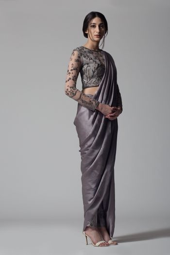Dark grey monotone saree with net and bead work blouse