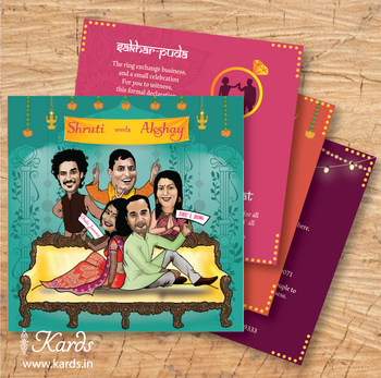 Photo of Caricature wedding card with family members