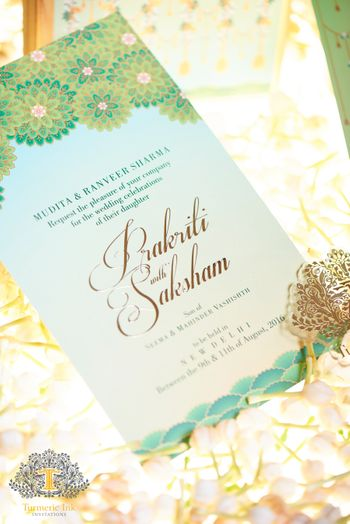 Light green and mint modern wedding card