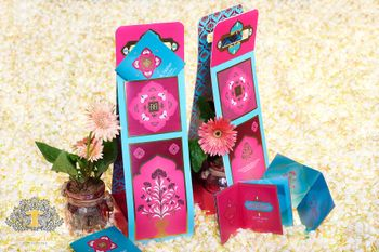 Photo of Bright pink and aqua card in card wedding invite