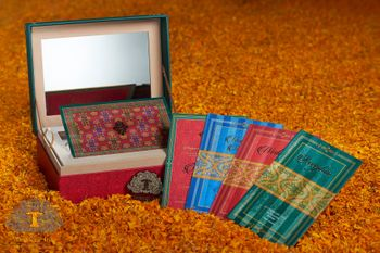 Photo of Colourful ikat print wedding cards in box