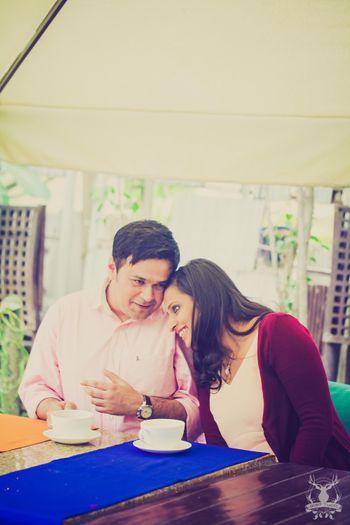 pre wedding couple shoot with coffee