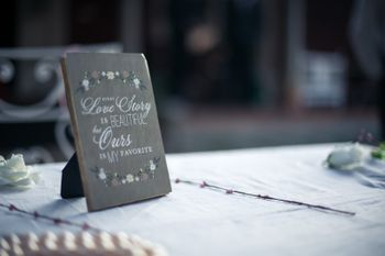 Frame on table top with cute saying