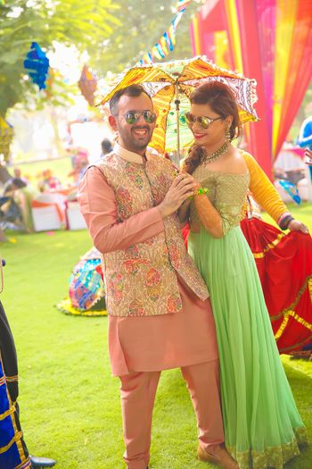 Salmon pink kurta with funky nehru jacket for mehendi