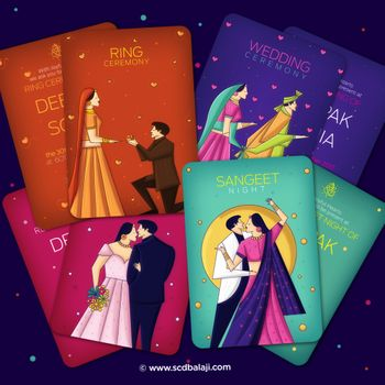 Unique wedding cards with caricature