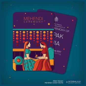 Purple mehendi invites with caricatures