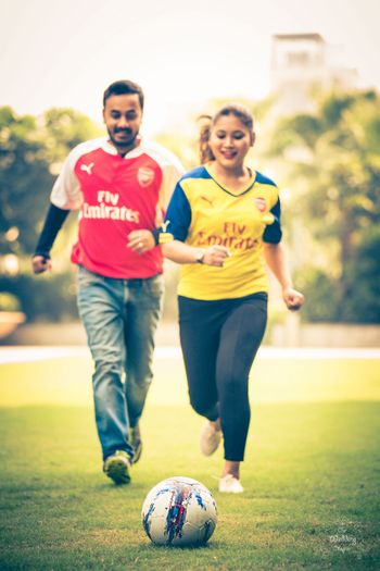 Photo of Football themed pre wedding shoot idea