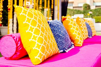 Photo of Yellow and blue cushions