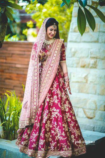 Pomegranate pink bridal lehenga
