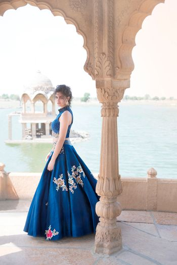 Cobalt blue gown with floral motifs
