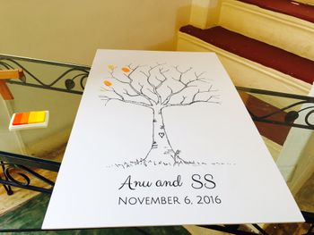 Unique idea for guests to leave imprint on paper tree