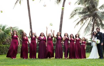 Photo of marsala colored bridesmaid gowns