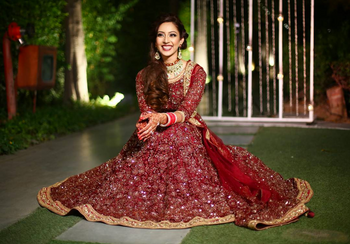 Deep maroon anarkali with gold zardozi work