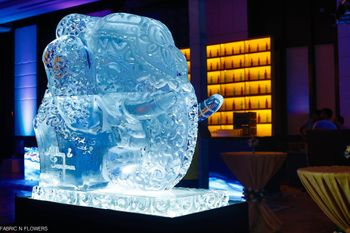 Elephant shaped ice sculpture at wedding