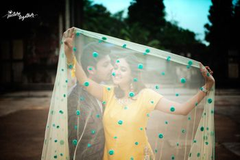 Photo of Pre wedding shoot with bollywood dupatta pose