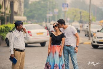 Cute pre wedding shoot pose with traffic cop