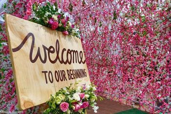 Rustic welcome wooden board for entrance decor