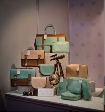mint and beige luggage