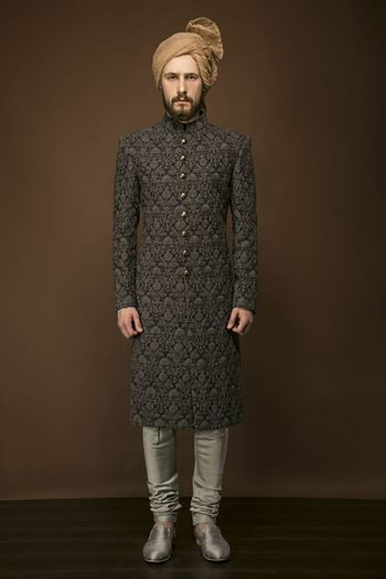 Photo of Dark grey sherwani with light grey churidar
