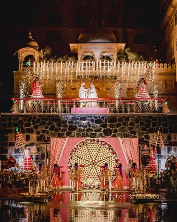 Photo of grand wedding jaimala stage decor