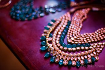 Polki bridal necklace with teal stones