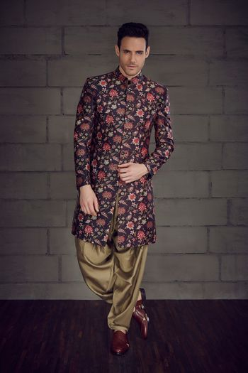 Photo of Purple floral sherwani for groom