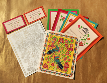 Kalamkari inspired colourful modern wedding card