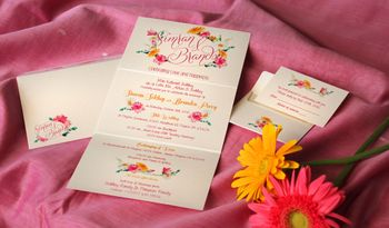 Simple wedding card with floral design